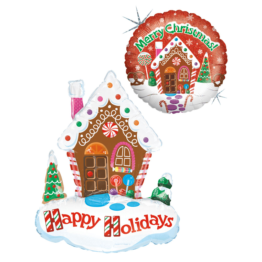 Christmas balloon designs with a gingerbread theme