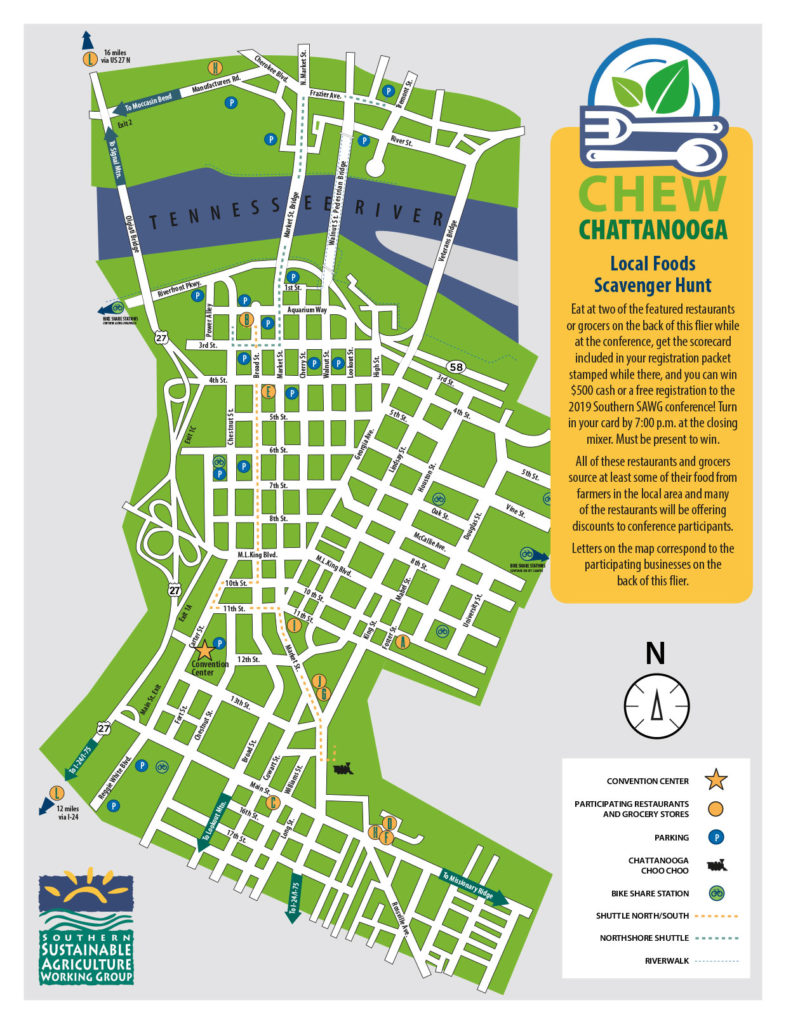 Map of downtown Chattanooga highlighting businesses serving locally grown foods.