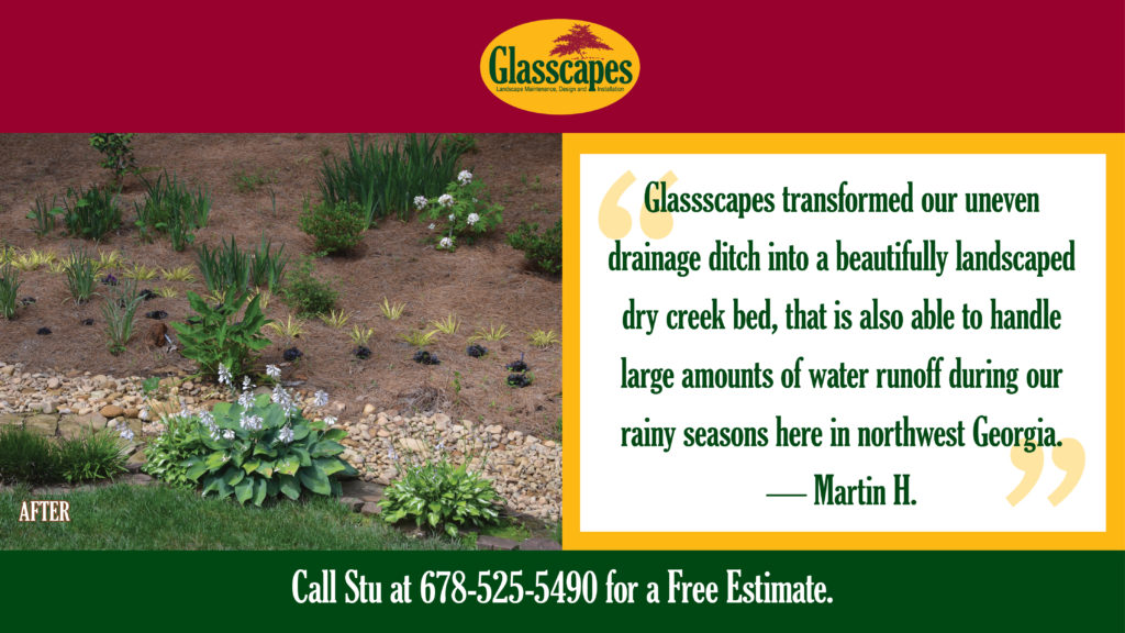 "Quote and ""After"" view of creek bed landscaping."