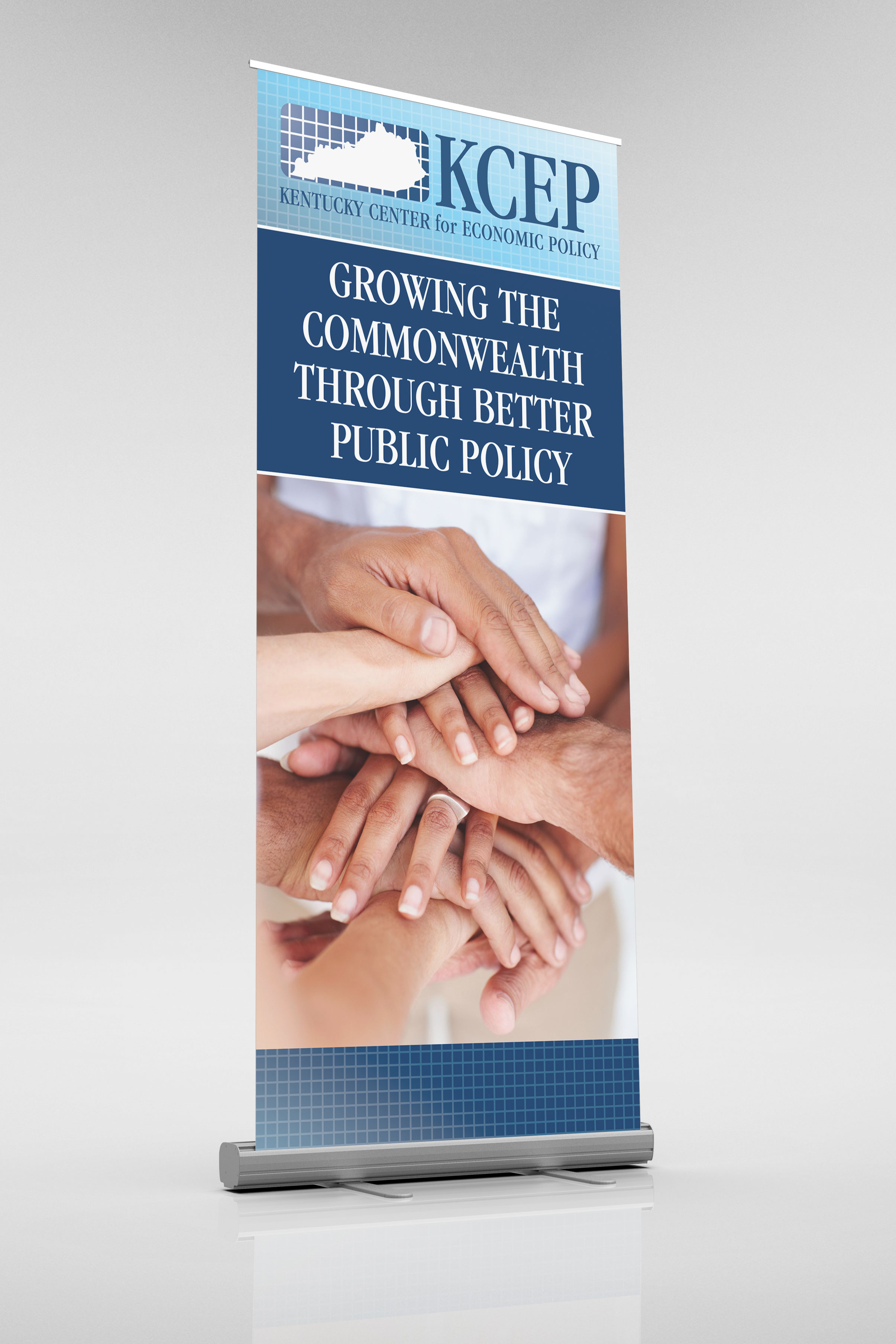 Roll-up banner for display at conferences or literature tables.