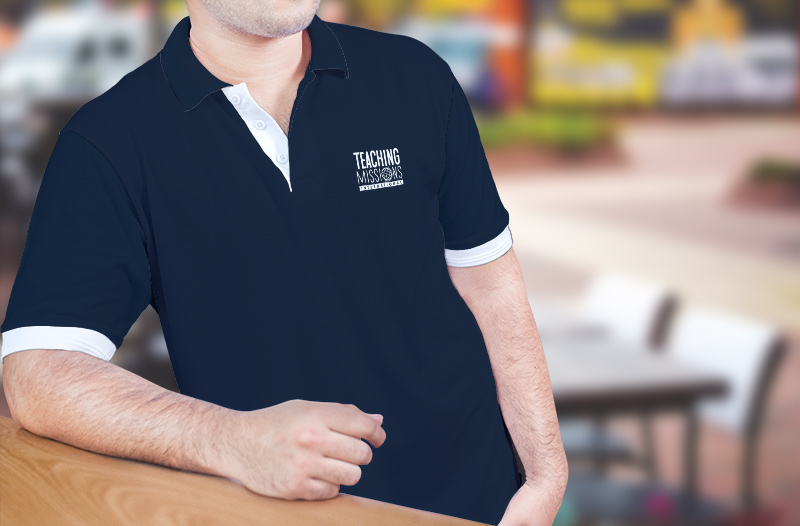 Polo shirt with logo on left breast.